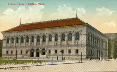 Postcard of the Boston Public Library in Massachusetts.