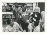 "Actor ""Mr. T.,"" who played Stallone's boxing opponent in Rocky III, tells library patrons how reading can influence their lives."