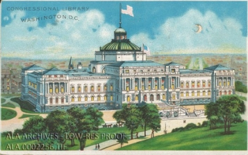 "A colorful drawing of a white building with two American flags on top. Grass and trees in the foreground and a city behind the building. Text on the image says ""Congressional Library Washington D.C."""