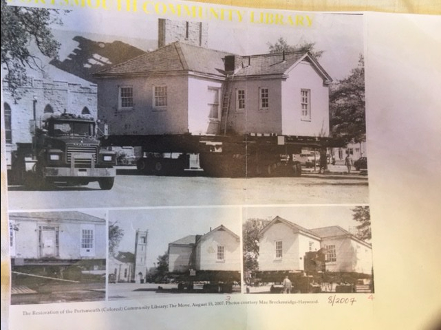 Black and white photos of the Portsmouth African-American library. A large truck sets in the front.
