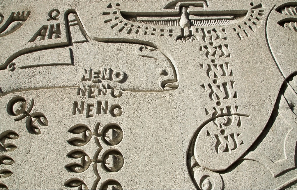 Examples of artwork by Van Sant, etchings of a whale, the word Neno, a bird, and other images resembling Egyptian hieroglyphics.