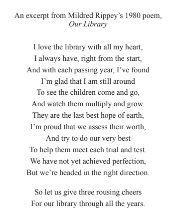 An excerpt from Mildred Rippey's 1980 poem