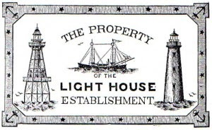 """Property of the Lighthouse Establishment"" logo with a wooden sailing ship, two lighthouse"