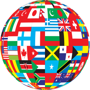 a globe comprised of flags of many nations